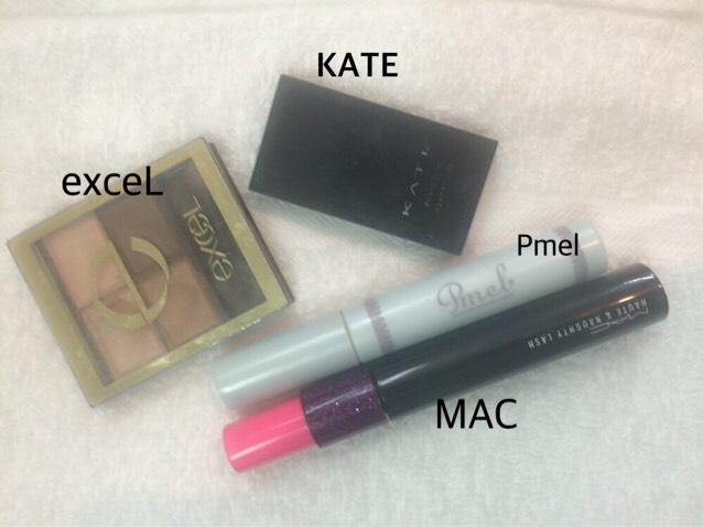 アイメイク  KATE 眉、涙袋、ノーズシャドウ exceL 涙袋、目頭  ベース色だけ塗ります。 Pmelまつげ下地 MAC まつげ