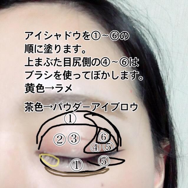 アイシャドウを①〜⑥の順に塗ります。 上まぶたの目尻側の④〜⑥はブラシを使ってぼかします。 下まぶたの目尻の部分は三角を描くように塗ります。 黄色の部分のラメは一旦手の甲に出してから指で塗ります。 パウダーアイブロウで涙袋の影を描きます。