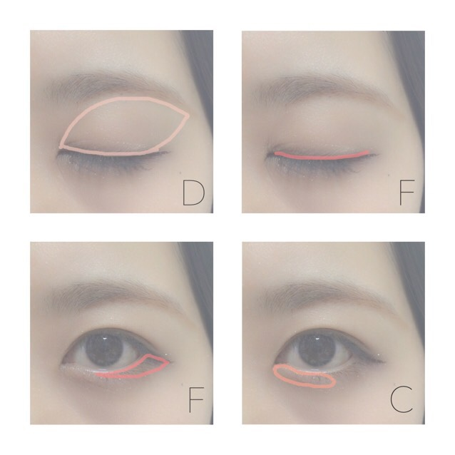 3.指でDの色をまぶた全体の塗る 4.チップでFの色を上瞼のきわにのせる 5.目尻から瞳の下くらいまでのせる 6.Cの色を涙袋にのせる