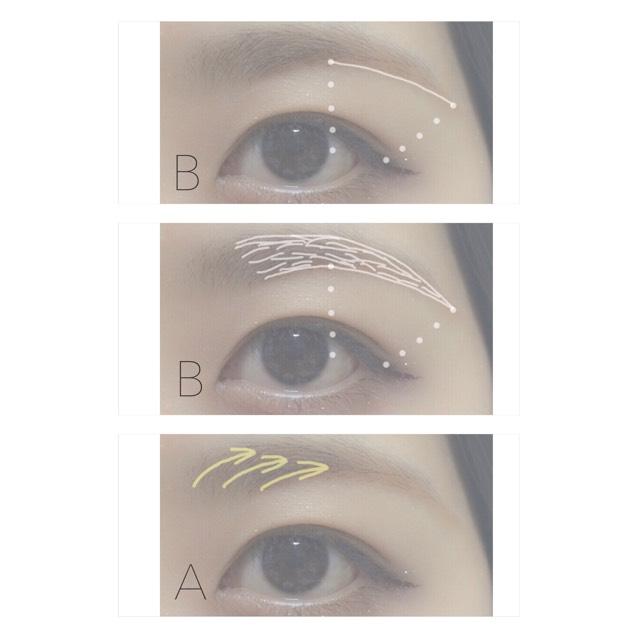 1.Bの色で眉尻の線を描く 2.輪郭をとって中を埋める 3.Aの色で眉頭〜中をぼかす