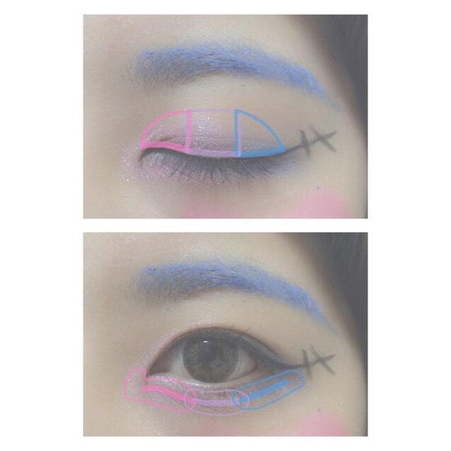 5.ピンクをアイホールと涙袋の目頭側3分の1までのせる 6.パープルをアイホールと涙袋の3分の2、中央のところにのせる 7.Eの色をアイホールと涙袋の目尻側3分の1までのせる 8.ピンクとパープル、パープルとブルーの境目をぼかしてグラデーションにする