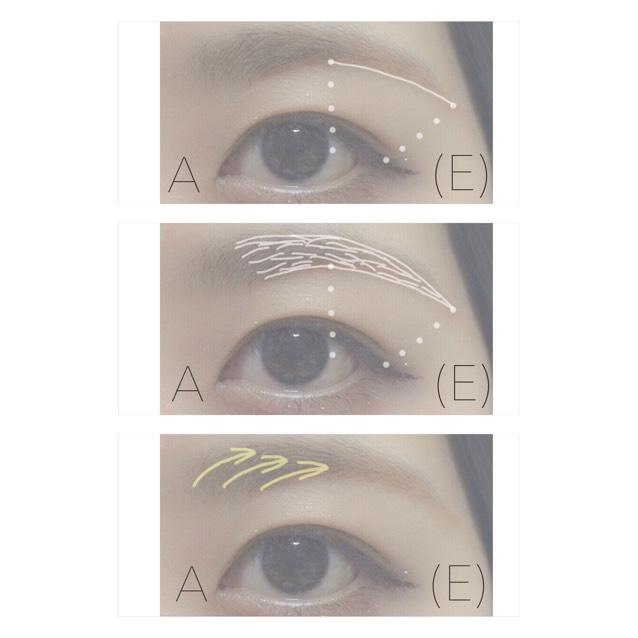 1.ピンク系の方はA、ブルー系の方はEの色で眉尻の線を描く 2.輪郭をとって中を埋める 3.そのまま眉頭〜中をぼかす
