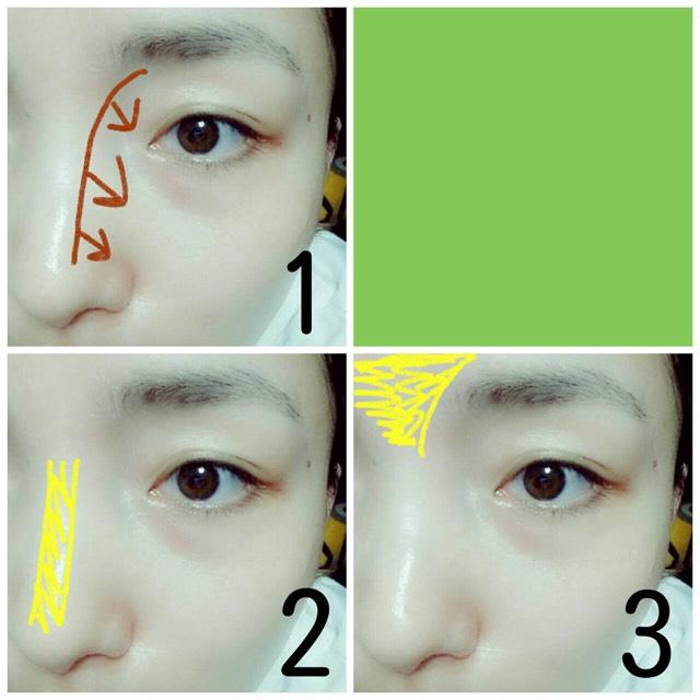 眉毛はアイブローパウダーで形そのまま色を変えるだけで、1.の位置にアイブローパウダーを筆にとってローライトを入れます。