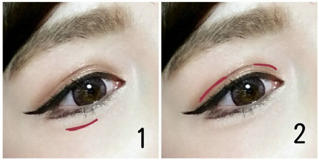 1.は涙袋の影として、2.は目の横幅を出すために二重の影を書き足します!(アイブローライナー使ってます)
