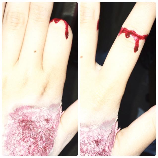 指が取れたみたいなのは、関節に血糊をぬればいいだけ。