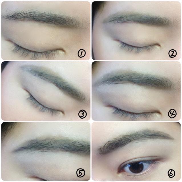 眉毛の形を変えます。 ①目頭下をマーク ②眉山をグイッと描き ③眉周りをコンシーラーで整える ④マジョマジョ白シャドウで眉周りのテカリをおさえ ⑤眉尻のみアイライナーペンシルで描き足す ⑥クリアマスカラで整える