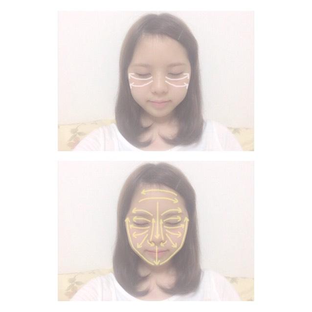 1.指先で目の下から外側に向かって伸ばす 2.顔全体は手のひらで顔の中心から外側に向かって伸ばし、目元や鼻周りなどは指先でムラにならないように伸ばす。