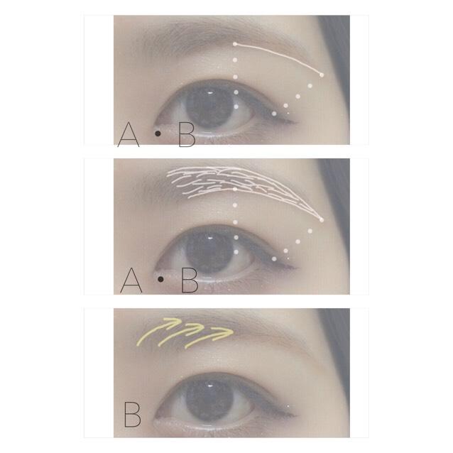 4.A・B混ぜた色で眉尻の線を描く 5.輪郭をとって中を埋める 6.Bの色で眉頭〜中をぼかす