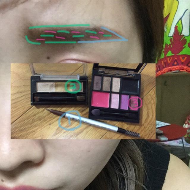 眉は自分の好きな形に〜(*☻-☻*)  暗めのピンクをすこしまぜます!