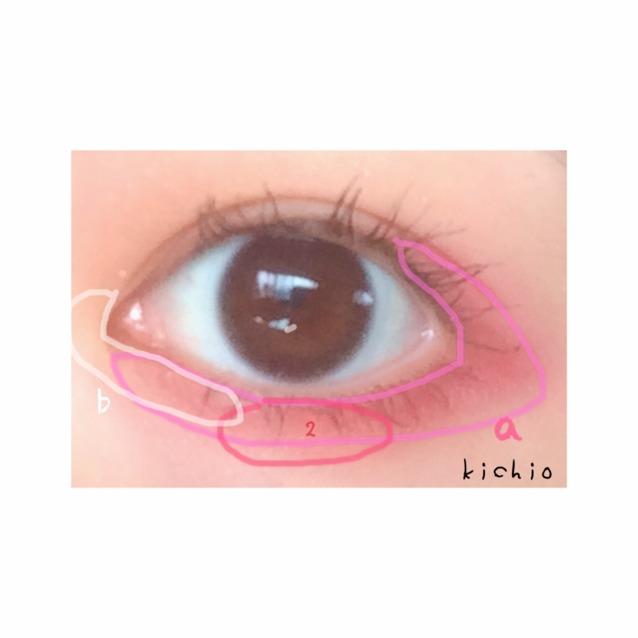 下まぶた  目頭〜黒目の下までbの白で涙袋強調  次に下まぶた目尻〜上まぶたの目尻とつなげるようにaのピンクを塗る  最後に黒目の真下に2の赤を塗りうさぎ風にする