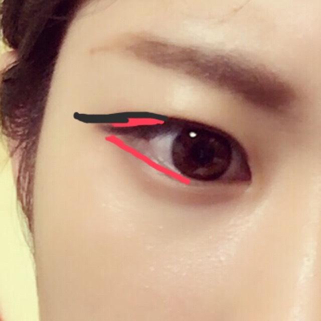 赤のところにうすいブラウンのペンるライナーでかきます。三角形を意識して目が半月型になるといいです。 黒のようにブラックのリキッドライナーでかきます。輪郭の延長する感じ。