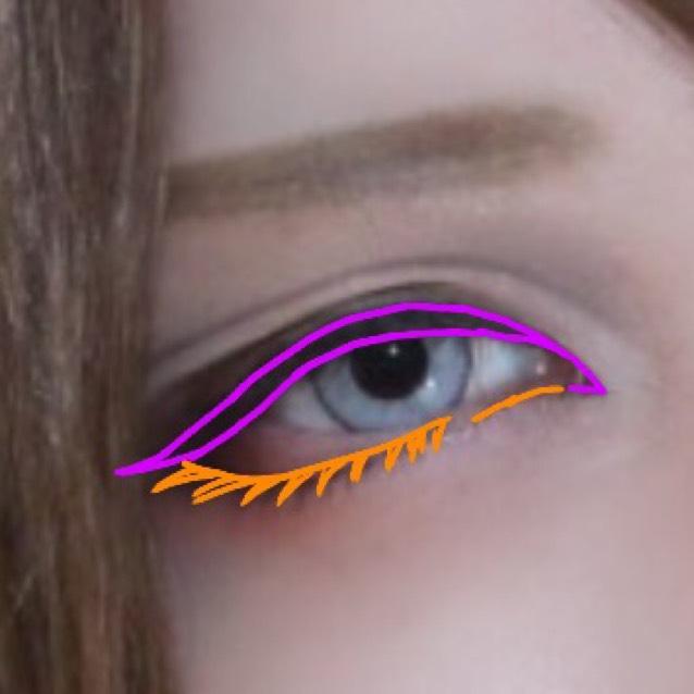 ❸紫→マジョマジョのライナー オレンジ→セザンヌのブラウンライナー でラインをひく マジョマジョのライナーは2回ノックしたくらいで書くと⭕
