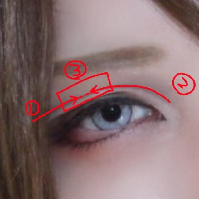 ❹リキッドの眉ペンでダブルラインを書く 図で示した順番で書き、3の部分は重ねて立体感を出す
