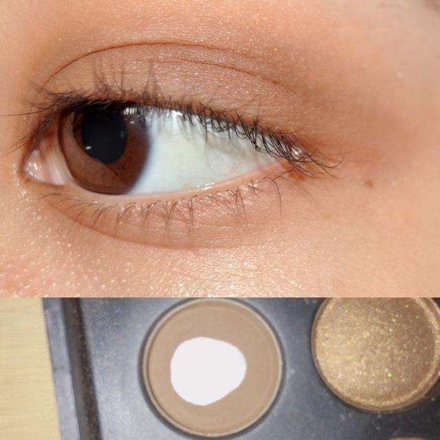 濃いブラウンで目尻から目の真ん中くらいまでぼかしながら塗ります!