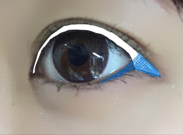 アイラインをいつものように引き、目尻の部分を引き下げます‼︎ ✩青の部分がポイントです。