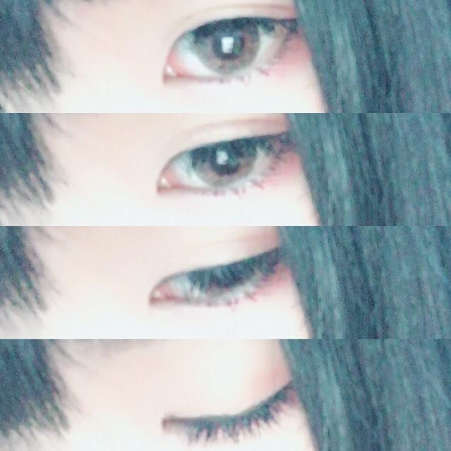 カラーコンタクトは黒に近けりゃ近いほど幼く見えます。 上瞼→目尻から目頭にかけてグラデーション 下瞼→こちらも同様、目尻から目頭にかけてグラデーション(※ピンク系統がオススメ)  まつ毛はなるべく上げてください! 私は上がらないのでそのままですが… ビューラーを行ってからベース→マスカラの順番で塗っていきます。下毛はこれでもかと言うくらい長めを意識!  アイライナーは瞳の上あたりを太めにタレ目にするのがポイントです。  眉は平行に  チーク、リップは滲んだ感を演出させてください!