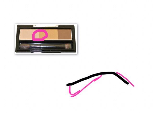 眉毛は、薄いの多めで混ぜてのせる 始めは、眉毛の真ん中より気持ち眉頭から塗ってく ピンクは大体付け足す所