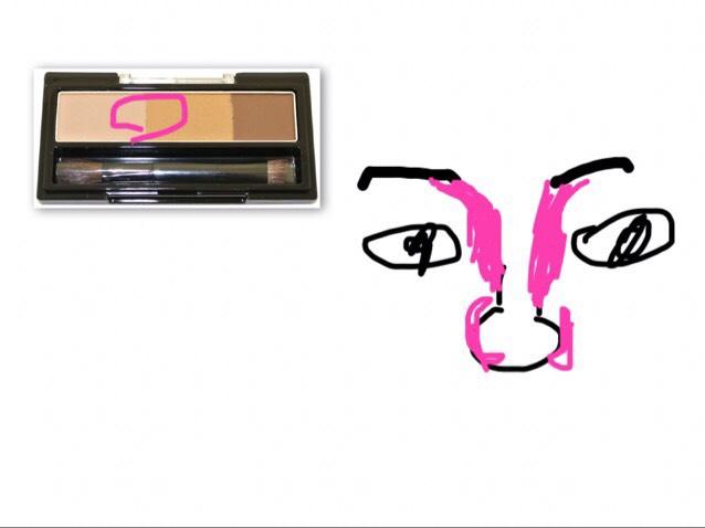 真ん中多めで混ぜて使う ピンク多めの所は三角に塗る 大体塗れたら指でなじませる