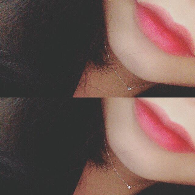 ピンクの口紅の上にボルドー のリップを重ねると、意外と いい感じの色になりました◎