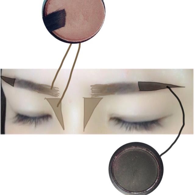 ベースは少しマットに  眉頭は細めのブラシで四角に 眉尻はブラックのシャドウで締めます 少し強めに書くのをイメージ