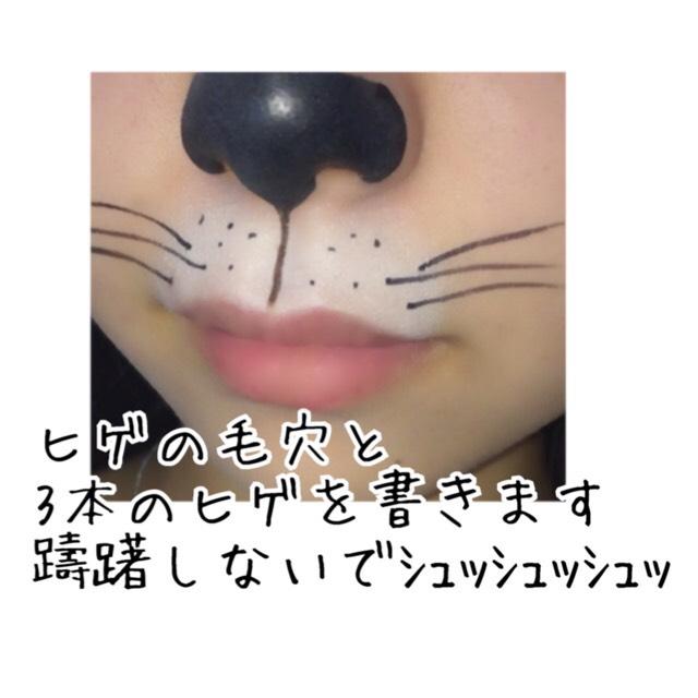 鼻の下に1本線を書いて 毛穴を同じ数書いて ヒゲを3本書きます  ヒゲの長さはお好みで!