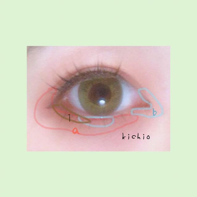 上瞼〜下瞼の目尻から目頭に向けてaの赤をのばす  黒目の真下と目頭をくの字にbの白を塗る  最後に1の茶色で目尻3分の1にラインを入れる