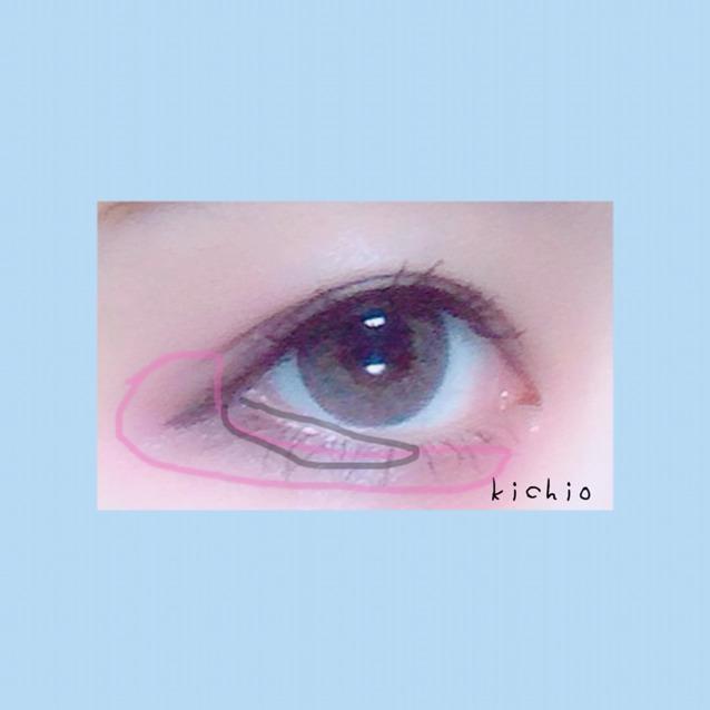 上瞼〜下瞼の目尻から目頭に向けてcを塗る  目尻3分の2に4でラインを入れて少しぼかす
