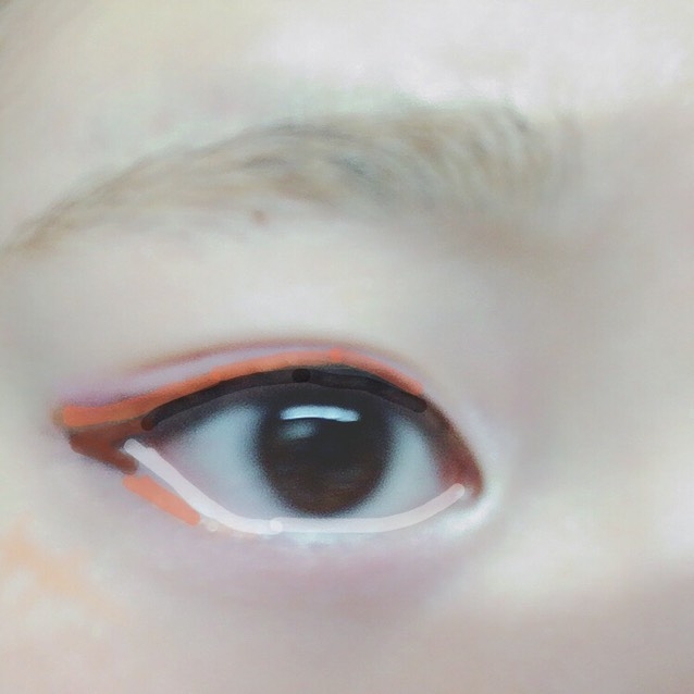 粘膜にKATE の白ライナーで目を大きく見せます、 茶色のラインは目尻4分の1までかいてその続きで黒目のところまでオレンジのラインを足します