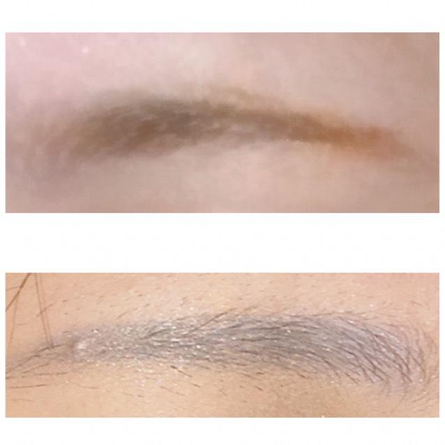 眉毛はまず、眉マスで色を抜いて、薄いブルーのアイシャドウをつける。