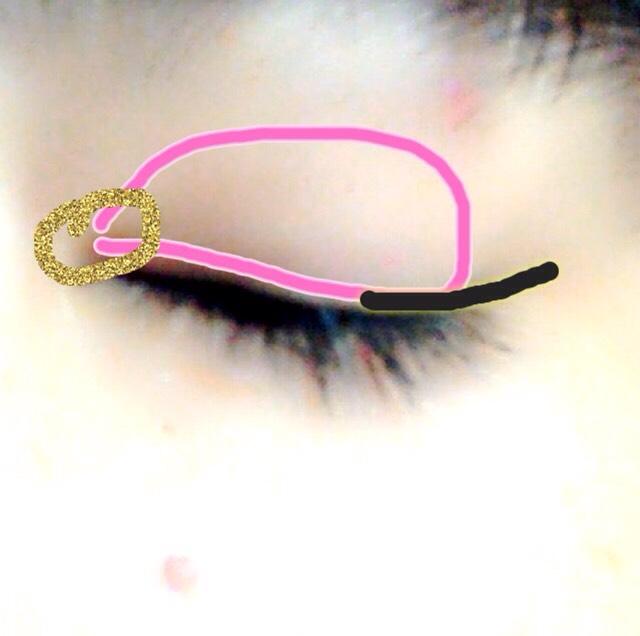 ピンクのぶんにカラーマスカララズベリーをぬる! 黒の線にあわせてアイシャドウのブラウンをはね上げるようにかく! 金のところにアイシャドウの金色を入れる!  カラーマスカラだけだとマットになるのでシャドウのピンク色を黒目上あたりに付けてラメ感プラス!