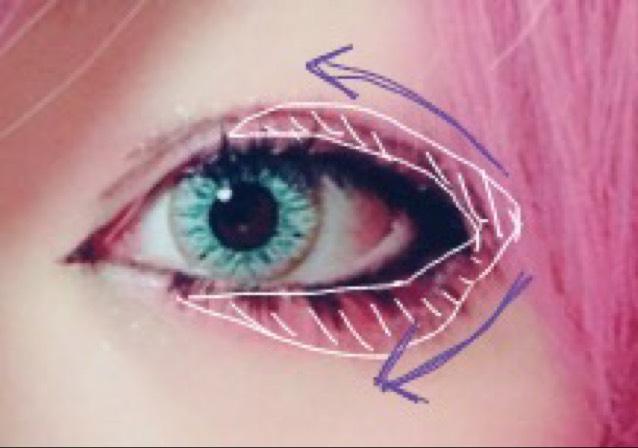 白の部分に赤のシャドーをのせます。 紫の矢印の通りにぬると、綺麗なグラデーションになりやすいです。
