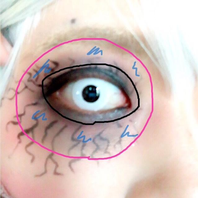 まず目の周り全体にチークブラシでピンクのアイシャドウを塗ります。 次に目の輪郭を強調するようにブラックのアイシャドウで目を囲います。 ブラックのアイシャドウは外側に向かってぼかします。 ところどころにブルーのアイシャドウを塗ってぼかします。