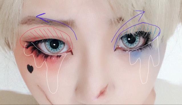 アイシャドウは青の矢印の方向に向かって濃くするグラデーションを作ります。目の下(白い部分)泣いたような形でグラデーションを描きます。