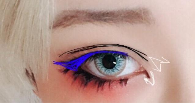 アイラインは青の部分に描きます。二重は並行に描き、目頭部分を枝分かれさせます。目頭切開は下めに短く。 アイシャドウ塗ってから描くのがお勧めです。