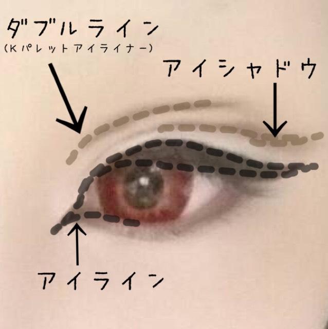 Kパレットの茶色のアイライナーで目を開けて 目頭のあたりから目の真ん中あたりまでラインを引きます