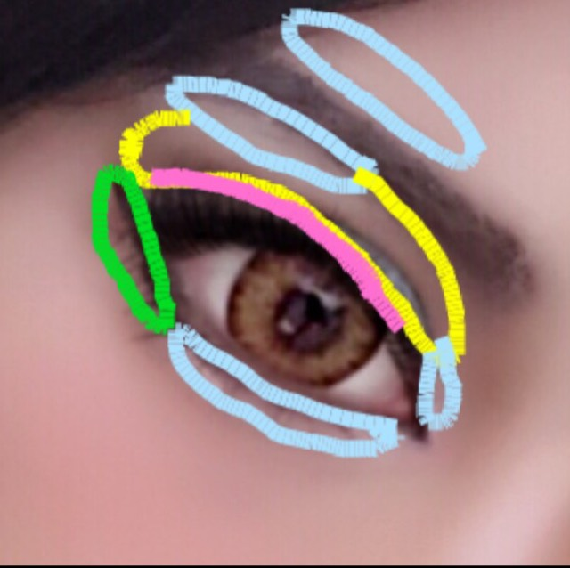水色の部分にハイライトを入れ、黄色のアイホール全体に薄めのブラウンを入れます。 ピンクの二重幅に青のアイシャドウを入れ、緑の部分に濃いブラウンを入れ、目全体に立体感を出します。