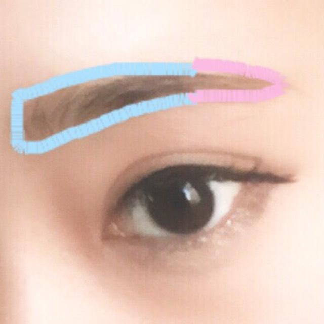 眉は並行か少し下り眉に! 水色の部分を暗いパウダーで仕上げ、ピンクの部分を明るめのパウダーで仕上げるとナチュラルな立体感が出ます!