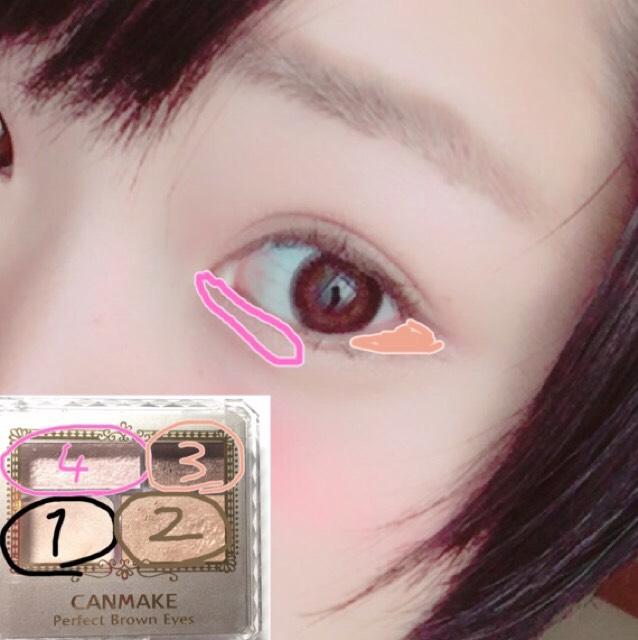 1,アイホールと涙袋全体 2,二重幅よりはみ出して塗り、下瞼3分の2まで塗る。 3,睫毛を埋めるように塗り、目尻に塗る 4,を塗る。 涙袋の影はノーズシャドウの茶色をブラシで書く