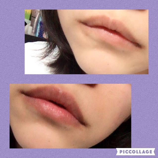 上が元のなにもしてない唇、舌が黒リップをしただけです。これだけでも結構深みのあるピンクになりますね。薄づきなので色がつきすぎたということにはならなさそうです