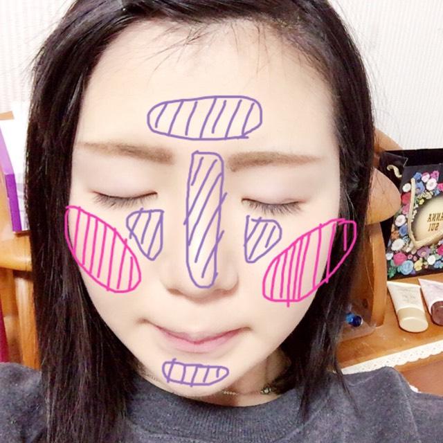 塗り方としてはこんな感じ。 ピンクがチーク ムラサキがハイライト チークは付属の筆ではなく100均のあの有名なチークブラシを使ってます。 ブラシの名前を忘れてしまいました…w