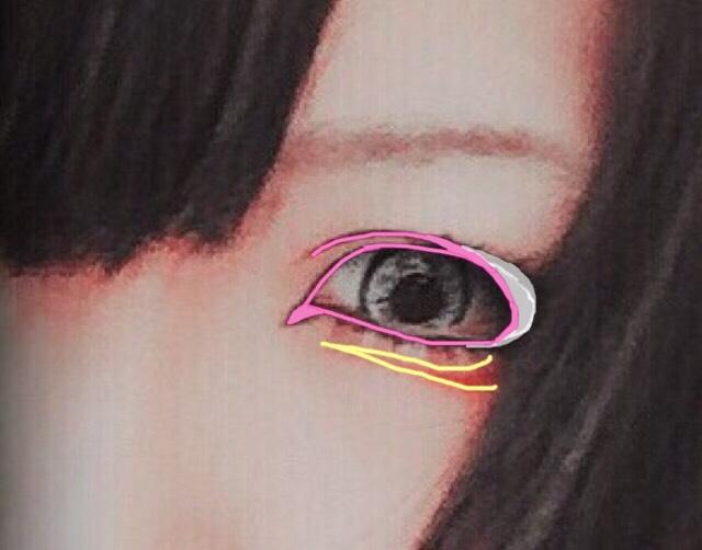 最後に目の下を全体的に赤くしても良いのですが涙袋の影に沿って目尻側から目頭に向かってラインを引きます(両目共) 私は赤のライナーを持って無かったので口紅をリップブラシに取って引きました。