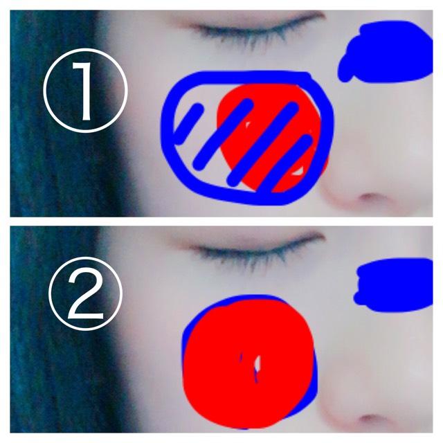 03夢中 チークの付け方① 赤橙色を丸くのせてその上から蜜柑色を頬骨から少しはみ出すようにして重ねる チークの付け方② 蜜柑色を頬に丸くのせその上から赤橙色色を重ねる