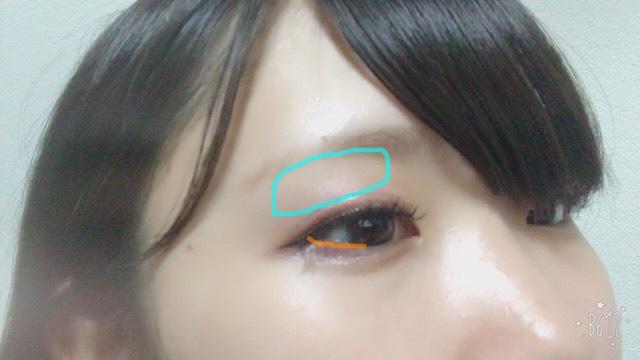 4を青線のように眉毛のしたから 6をオレンジ線のように下まつ毛の際に目の真ん中まで入れます