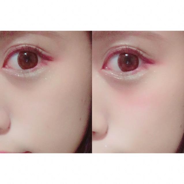 赤いクリームチークを目の下指一本分のところに横長にのせます。