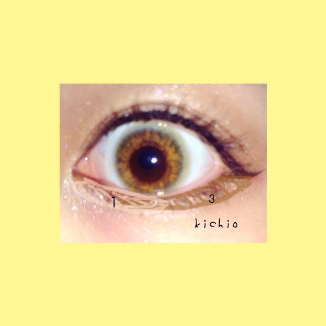 下瞼は3のキャメルブラウンをライン状に入れる  目頭〜涙袋に1をはっきりめに塗る