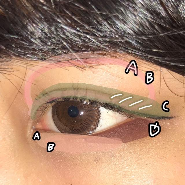 AとBをアイホール全体に。 C 2重幅の少し上まで、目尻を少し濃くして他は薄目で◎  Dの赤茶色をポイントとして下まぶた目尻に♥  次に、AとBを涙袋にのっければ完成です!♡♡