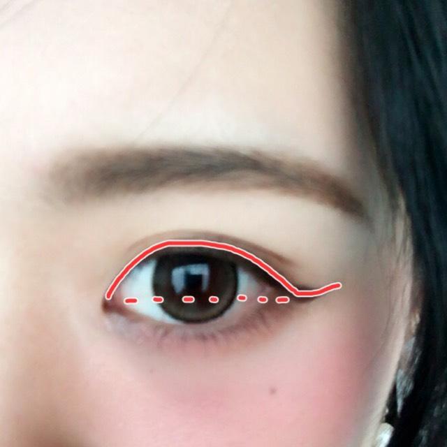 アイラインはペンシルタイプのジェルライナーを使って目頭から引いて目尻は目頭と同じ高さまではみ出してから跳ね上げます。