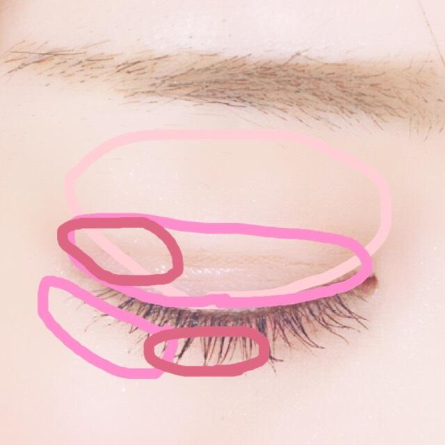 二重をアイテープで作ります。 アイホール全体にうすーいピンクを塗ります。 二重幅、下瞼目尻に淡いピンク。 上目尻と涙袋黒目の部分をピンク。