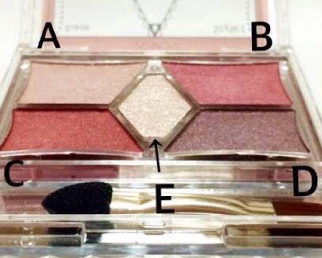 ⑥二重幅にスタイリストアイズの右上Bを太めになぞる。次に左下と右下を混ぜて、細いブラシでダブルラインをかいていく。 目を閉じた完成画像を参考にしてね♪ ダブルラインでデカ目効果がでますよー!いらなければかかなくてオッケー(´◡͐`)