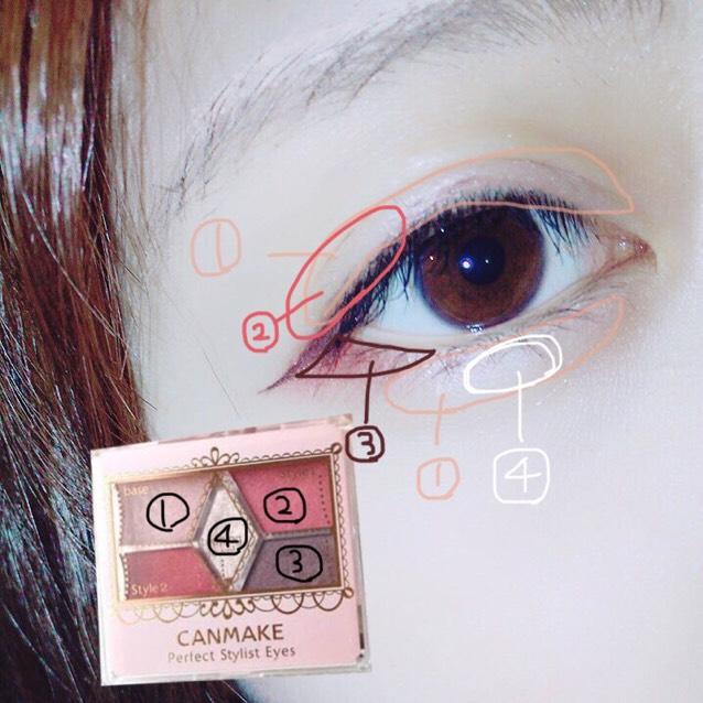 アイシャドウはCANMAKEのアイシャドウを写真の様に塗り、涙袋の下にアイブロウペンシルで涙袋の影を薄く書き指でぼかします。